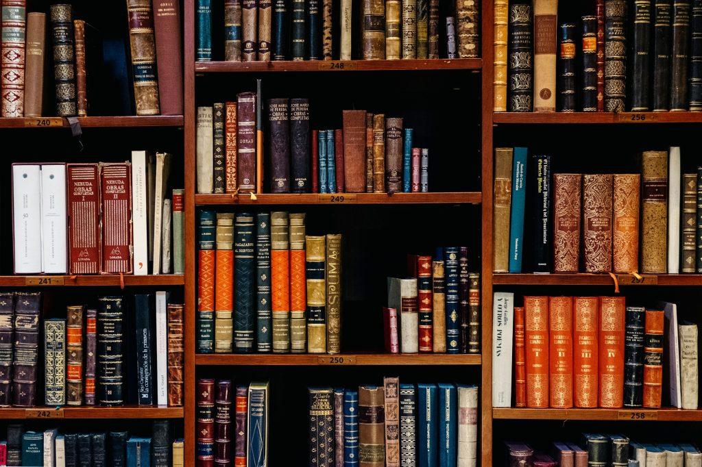 Academia: library book shelves