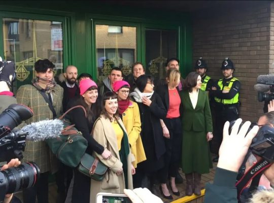 Members of the Stanstead 15 outside court
