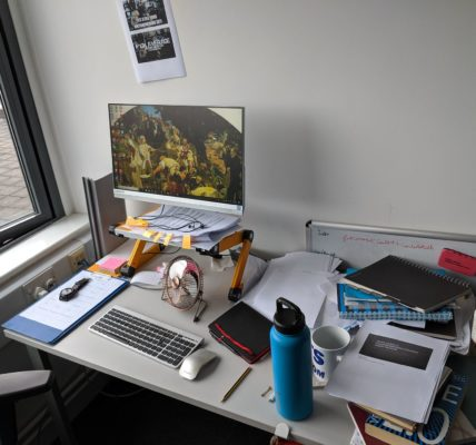 Josh Hughes' writing desk, July 2019
