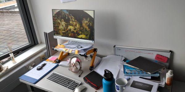 Josh Hughes' writing desk, July 2019